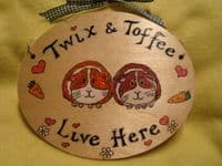GUINEA PIG /BUNNY HUTCH RUN CAGE OR BEDROOM SIGN ANY COLOUR RABBIT WOODEN PERSONALISED OVAL ORDER